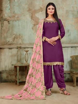 Purple Fancy Satin Designer Patiala Suit