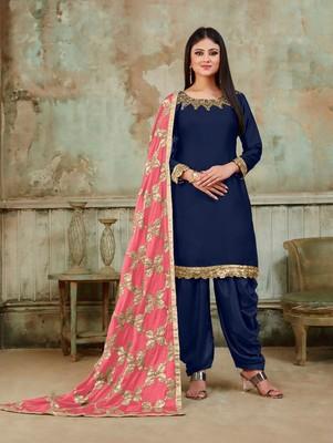 Royal Blue Fancy Satin Designer Patiala Suit