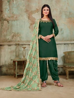 Dark Green Fancy Satin Designer Patiala Suit