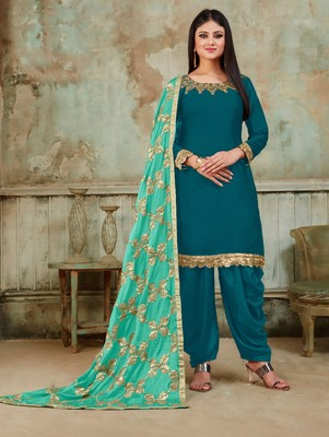 Teal Green Fancy Satin Designer Patiala Suit