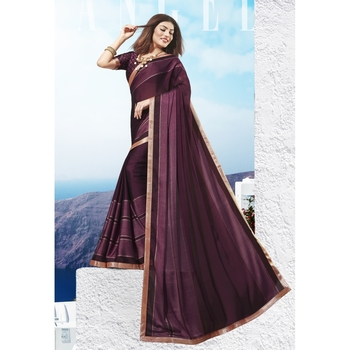 Wine printed chiffon saree with blouse