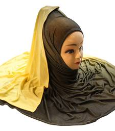 Justkartit Women's Yellow Color Casual Wear Jersey Stretchable 2 Shade Hijab Scarf Dupatta