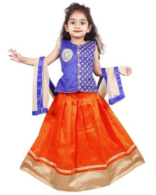 Orange plain cotton silk stitched lehenga