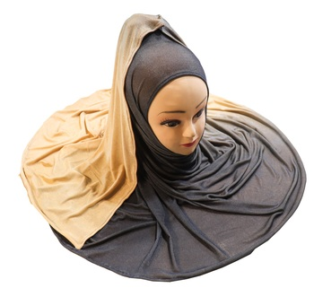 Justkartit Women's Met Blue Color 2 Shade Jersey Stretchable Material Hijab Scarf Dupatta