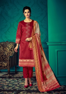 Red embroidered cotton salwar