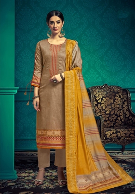 Brown embroidered cotton salwar