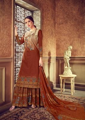 Brown digital print cotton salwar