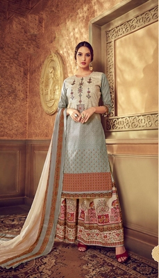 Grey digital print cotton salwar