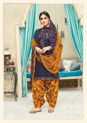 Navy-blue digital print cotton salwar