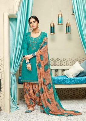 Sea-green digital print cotton salwar