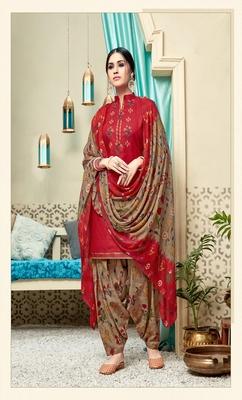Red digital print cotton salwar