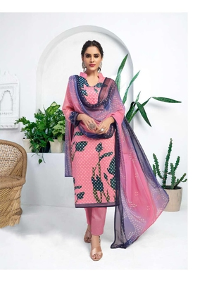 Pink digital print silk salwar