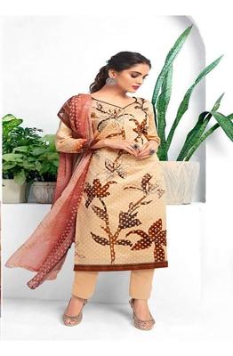 Orange digital print silk salwar