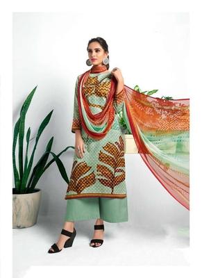 Green digital print silk salwar