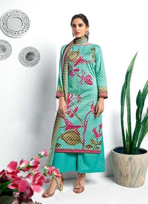 Blue digital print silk salwar