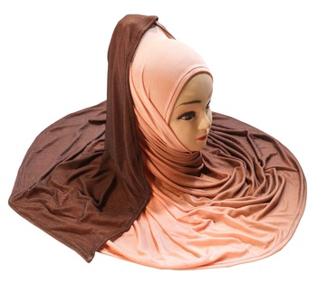 Justkartit Peach Color 2 Shade Jersey Stretchable Material Hijab Scarf Dupatta For Women