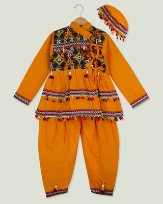 Yellow kedia with pom pom lace for boys