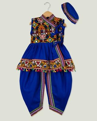 Royal Blue Kedia with pom pom lace for boys