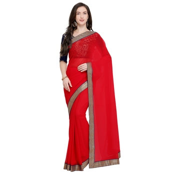 Red plain georgette saree with blouse