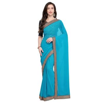Sky blue plain georgette saree with blouse