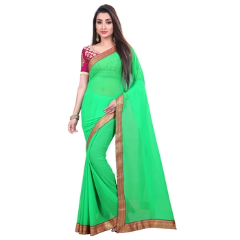 Light green plain georgette saree with blouse