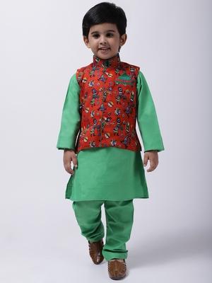 Orange Tribal Print Jacket With Green Stand Collar Kurta Pajama