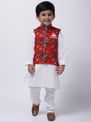 Red Tribal Print Jacket With White Stand Collar Kurta Pajama