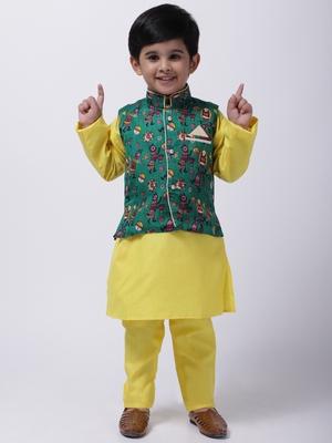 Green Tribal Print Jacket With Yellow Stand Collar Kurta Pajama