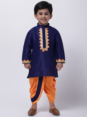 Blue Full Sleeve Dhoti Kurta For Boys