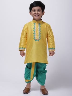 Yellow Full Sleeve Dhoti Kurta For Boys