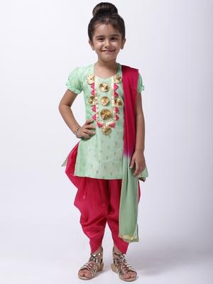 Green Chanderi Round Neck Kurti With Dhoti For Girls
