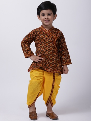 Black Jaipuri Print Cotton Kedia Dhoti Set