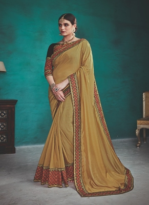 light olive embroidered silk blend saree with blouse