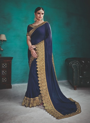 royal blue embroidered silk blend saree with blouse