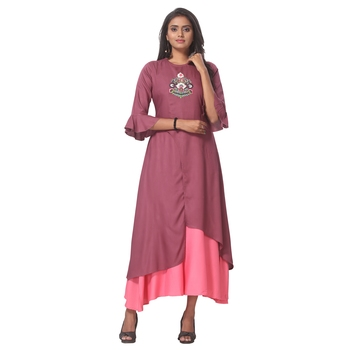 Magenta embroidered rayon ethnic-kurtis