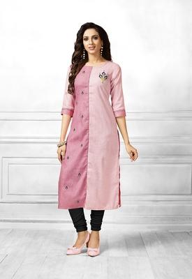 Pink printed cotton cotton-kurtis