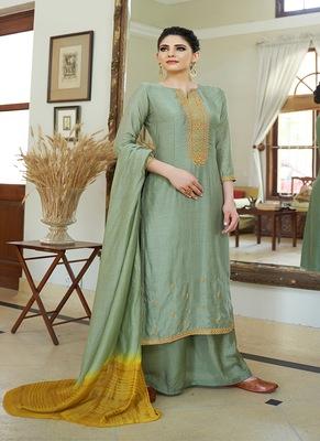 Sea-green embroidered cotton silk salwar