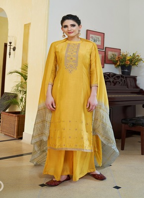 Yellow embroidered cotton silk salwar