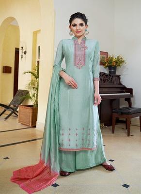 Light-aqua-blue embroidered cotton silk salwar
