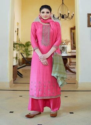Pink embroidered cotton silk salwar