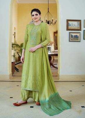 Olive embroidered cotton silk salwar