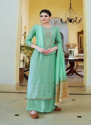 Turquoise embroidered cotton silk salwar