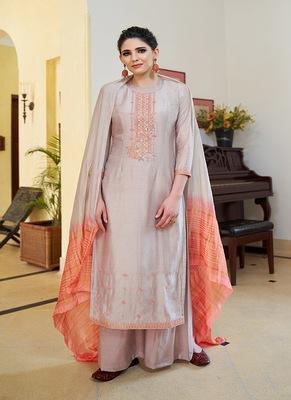 Silver embroidered cotton silk salwar