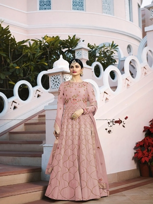 Pink embroidered silk salwar