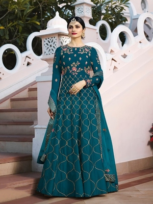 Turquoise embroidered silk salwar