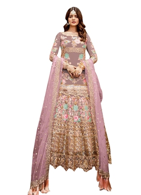Multicolor Embroidered Net Salwar