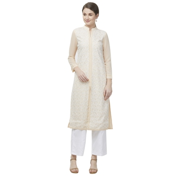 Beige embroidered georgette kurtas-and-kurtis
