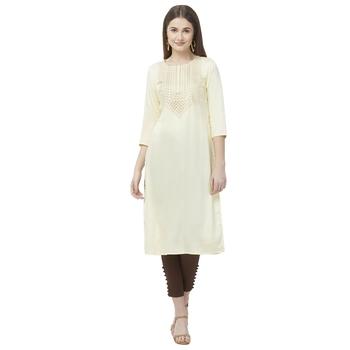Off-white embroidered rayon kurtas-and-kurtis