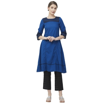 Navy-blue embroidered cotton kurtas-and-kurtis