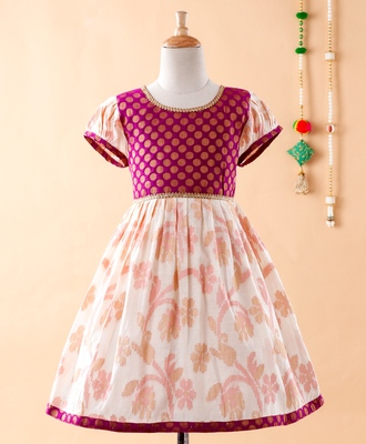 Purple printed brocade kids-frocks